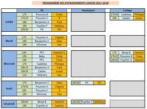 Entrainements 2017-18